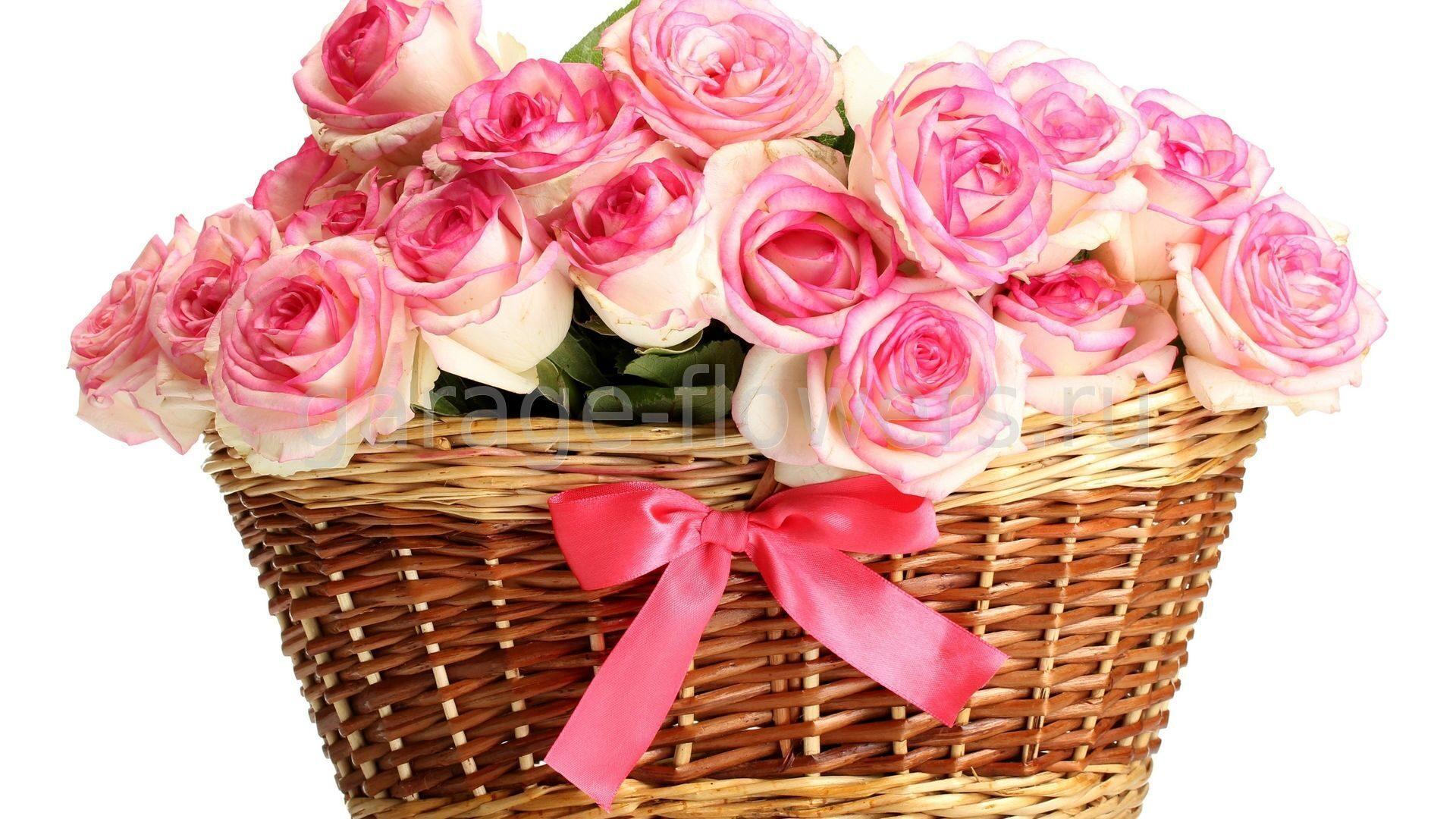 Открытка розы красивые в корзине
