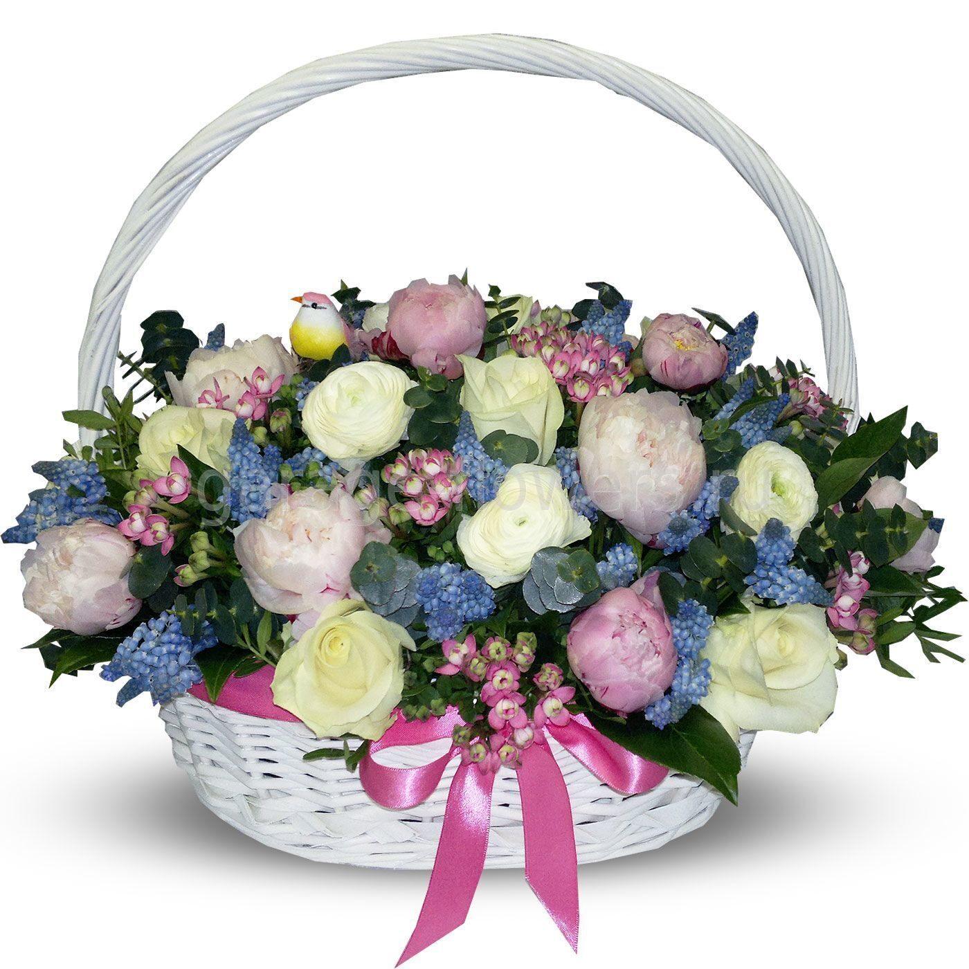 Картинки с днем рождения корзина цветов, зайчиком